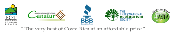 Better Business Bureau, Costa Rican Tourism Board (ICT) and  certification seals